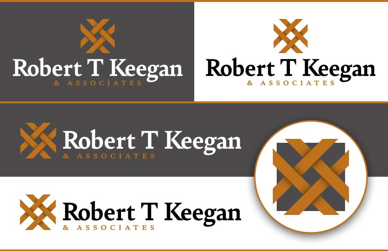 Robert T Keegan & Associates stacked logo, landscape logo, and social media icon