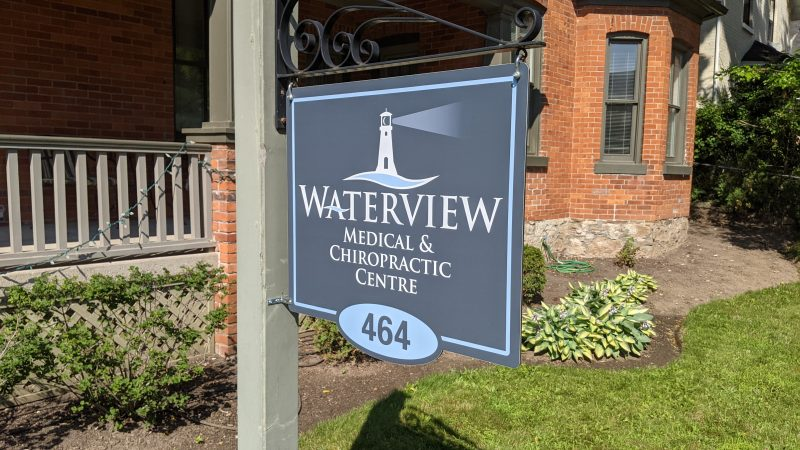 Whaterview Medical and Choropractic Centre's hanging sign on Locust Dr.